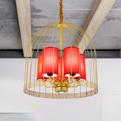 Birdcage Metal Chandelier Lighting Traditional 3/5 Heads Black/Gold Suspension Light with Red Fabric Cylinder Shade