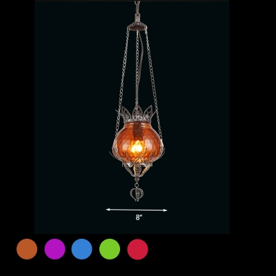Bubble Red/Yellow/Blue Glass Suspension Lamp Boheimia Style 1 Light Coffee Shop Ceiling Pendant Light