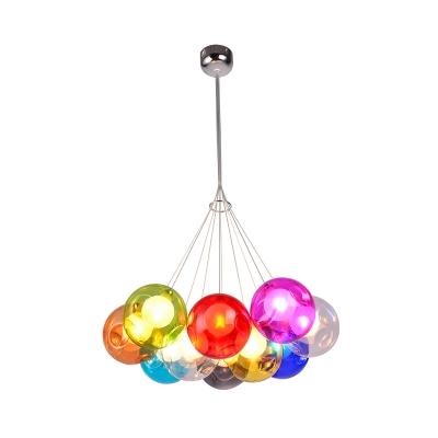 Chrome Globe Pendant Chandelier Modernist Colorful Dimpled Blown Glass 10/15/25 Lights Hanging Ceiling Light