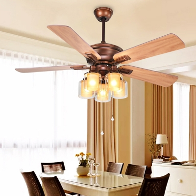 Cylindrical Dining Room Ceiling Fan Lamp Retro Clear Glass 5 Bulbs Red Brown Semi Flush Light