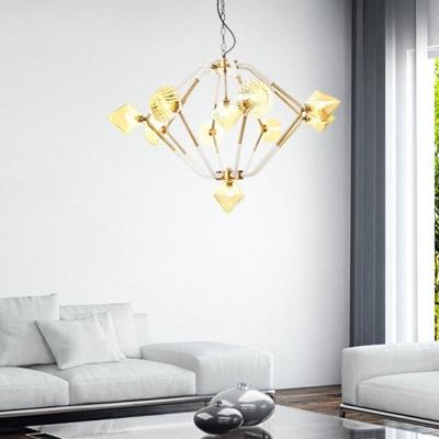 Diamond Bedroom Chandelier Light Modernism Amber Glass 10 Heads Pendant Lighting Fixture