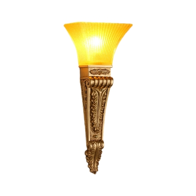 Flared Indoor Sconce Light Fixture Modern Style Yellow Glass and Resin 1 Light Gold/White Finish Wall Light, 14