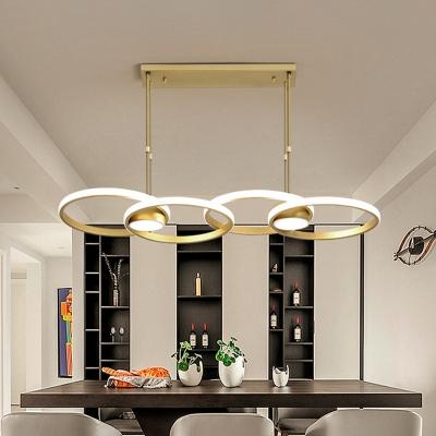 Metal Ring Chandelier Pendant Light Postmodern Gold LED Suspension Light in Warm/White Light
