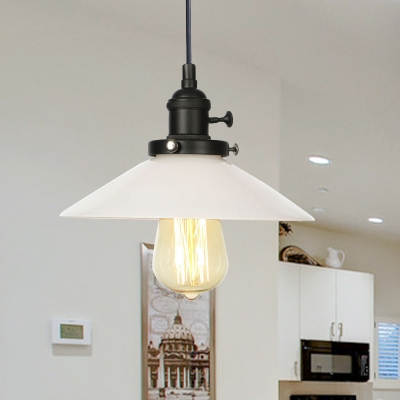 Milk Glass Cone Pendant Light Fixture Industrial Style 1 Light Black/Bronze/Brass Ceiling Light with Adjustable Cord, Black;bronze;rose gold;brass;chrome;copper, HL572410