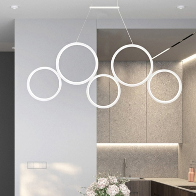 Modern Style Rings Hanging Chandelier Metal Led Dining Room Pendant Light with White Lighting