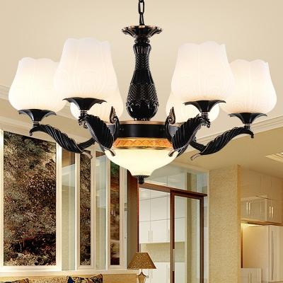 Opal Glass Black Hanging Chandelier Blossom 4/6/7 Lights Vintage Suspension Pendant for Living Room