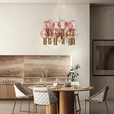 Pink Glass Spherical Hanging Chandelier Contemporary 12 Bulbs Ceiling Pendant Light