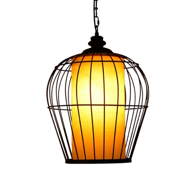 Single Iron Hanging Pendant Simplicity Black Bird Cage Suspended Lighting Fixture
