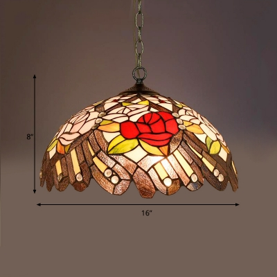Tiffany Floral/Cone Ceiling Pendant Light 1 Light Stained Glass Suspension Lighting Fixture in Black