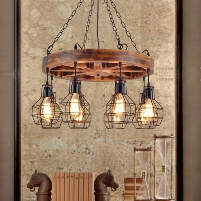 Wood Globe Chandelier Lighting Fixture Farmhouse Metal 6/8 Lights Kitchen Hanging Light