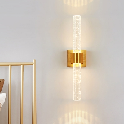 1/2-Head Bubble Crystal Wall Sconce Traditionalist Gold Linear Bedroom LED Wall Mounted Light, HL583194