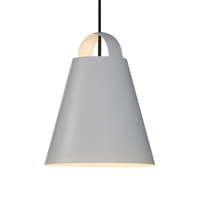 1 Head Dining Room Down Lighting Modernism Black/White Ceiling Hanging Light with Cone Metal Shade