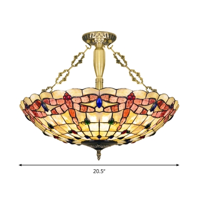 4 Lights Dragonfly Semi Flush Mount Light Brass Shell Ceiling Fixture for Bedroom