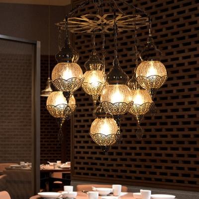 7 Lights Dining Room Ceiling Lamp Vintage Bronze Chandelier Pendant Light with Globe Amber Crackle Glass Shade