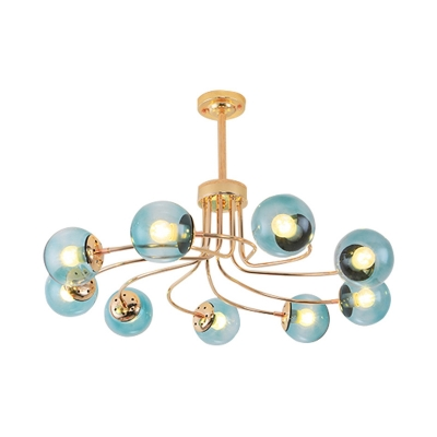 9 Lights Living Room Chandelier Lamp Contemporary Black/Gold Hanging Ceiling Light with Sphere Blue/Amber Glass Shade