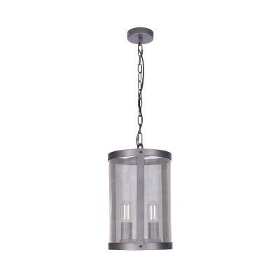Black 2/4 Lights Hanging Pendant Farmhouse Iron Cylindrical Screen Chandelier Lighting