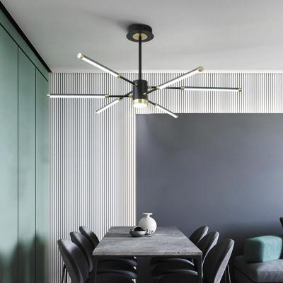 Black Sputnik Hanging Chandelier Modern 6/8 Lights Metal Suspension Light in Warm/White Light