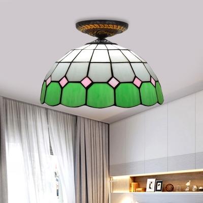 Bowl Ceiling Flush Tiffany-Style Stained Art Glass 1 Head Green/Orange/Blue Flush Mount Lighting Fixture