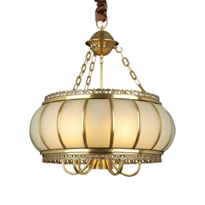 Brass Drum Hanging Chandelier Colonial Frosted White Opal Glass 4 Lights Living Room Ceiling Pendant