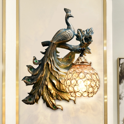 Bronze Peacock Wall Light Fixture Traditional 1 Head Resin Sconce Light with Clear Crystal Dome Lamp Shade, Left/Right