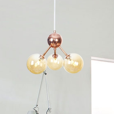 "Bubble Bedroom Chandelier Lighting Amber/Clear/Smoke Gray Glass 13""/27.5""/34"" Wide 3/9/12-Head Vintage Style Ceiling Light Fixture, Clear;amber;smoke, HL573112"