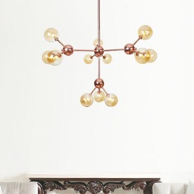 Bubble Bedroom Chandelier Lighting Amber/Clear/Smoke Gray Glass 13