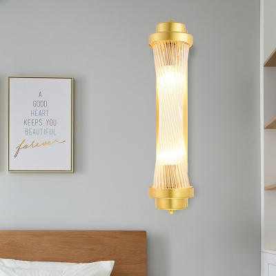 Clear Glass Gold Wall Mount Lighting Cylinder 2 Bulbs Traditional Flush Wall Sconce for Bedroom