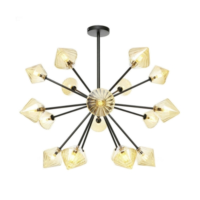 Contemporary Diamond Hanging Chandelier Amber Glass 18 Bulbs Living Room Ceiling Suspension Lamp