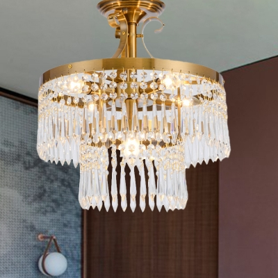 Crystal Round Semi Flush Mount Modernism 6 Heads Brass Ceiling Light Fixture for Dining Room, HL578263