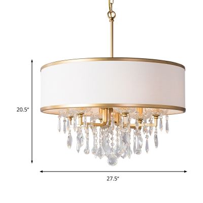 Droplet Chandelier Lamp Contemporary Crystal 6 Heads Brass Hanging Light Fixture with White Drum Fabric Shade