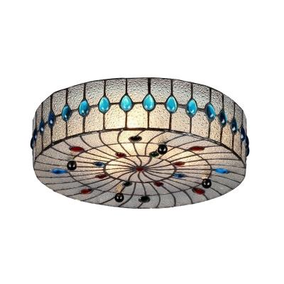 Drum Flush Mount Lamp 2/3 Lights Clear Bubble Glass Mediterranean Ceiling Lighting for Corridor, 12