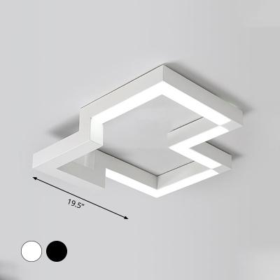 Geometric Metal Flush Mount Lighting Modernism Black/White 19.5