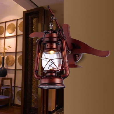 Iron Lantern Shade Wall Sconce Lighting Industrial Style 1 Bulb Wall Light Fixture in Weathered Copper, HL572474