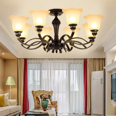 Opal Glass Blossom Chandelier Light Fixture Retro 3/6/8 Lights Living Room Ceiling Pendant in Black