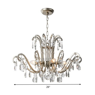 Rural Swooping Arm Chandelier Lamp 5/8 Lights Crystal Suspension Lamp in Aged Silver for Living Room
