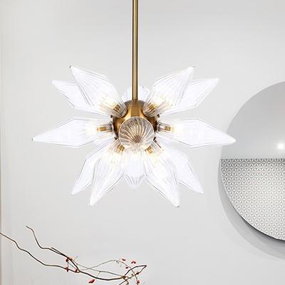 Sputnik Amber/Clear Glass Chandelier Lamp Industrial Style 9/12/15 Lights Brass/Copper Finish Pendant Light Fixture for Living Room