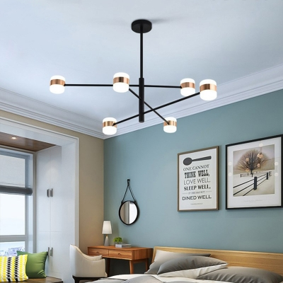 Sputnik Metal Pendant Light Fixture Modernism 4/6/8 Lights Black Hanging Lamp, Warm/White Light