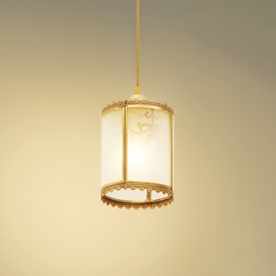 Traditional Cylinder Drop Lamp 1 Head White Glass Pendant Ceiling Light for Dining Room in Brass