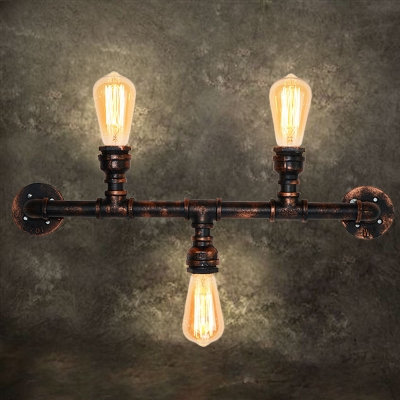 Water Pipe Sconce Wall Light Rustic Style Iron 3 Lights Weathered Copper Wall Mounted Light for Bedroom