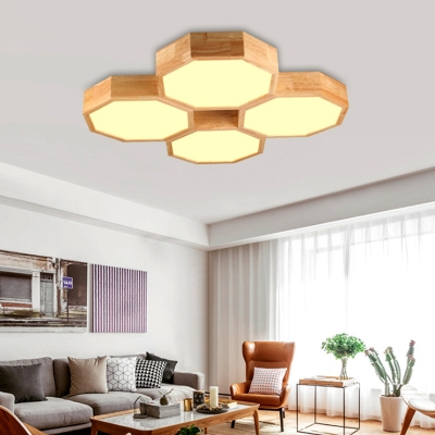 Wood Octagon Shaped Ceiling Flush Mount Modern Style 4 Lights Flushmount Lighting in Beige