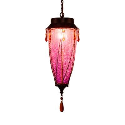 1 Bulb Cone Pendant Light Traditional Red/Yellow/Green Crackle Glass Hanging Lamp for Restaurant