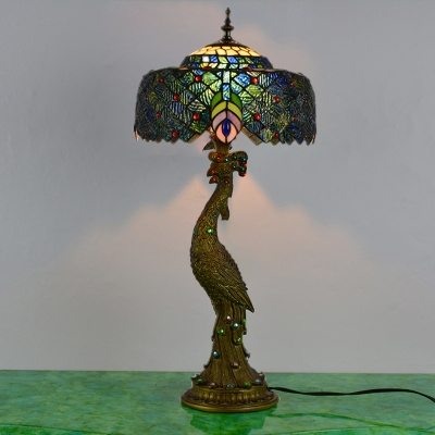 1 Head Peacock Desk Light Tiffany Brass Hand-Crafted Glass Task Light for Reading Room