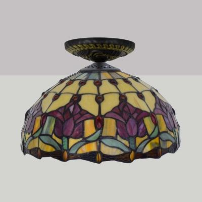 1 Light Flower Ceiling Lighting Victorian Green/Orange/Pink Stained Glass Flush Mount Light Fixture