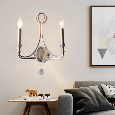 2 Lights Wall Mounted Lamp Minimalist Candelabra Metal Sconce Light in Aged Silver with Crystal Accent