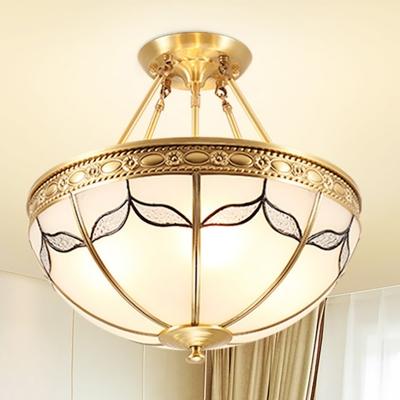 4 Lights Ceiling Light Classic Domed Frosted Glass Flush Mount Lighting in Brass for Living Room, 12.5