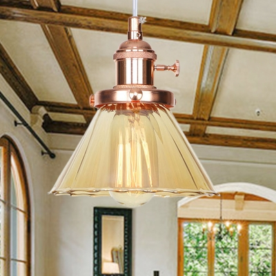 Amber/Clear Glass Cone Hanging Fixture Warehouse Style 1 Light Black/Bronze/Brass Ceiling Light for Restaurant, Clear;amber, HL572367