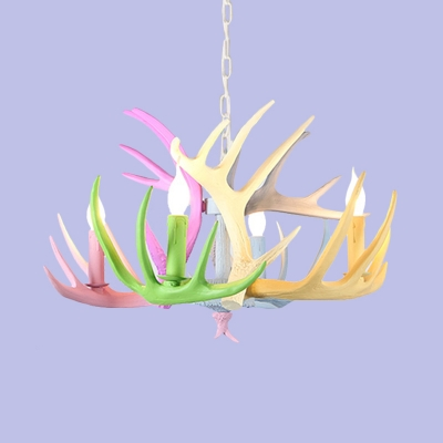 Antler Chandelier Lamp Traditionary Resin 4/6/8 Heads Blue-Pink-Yellow Pendant Light Fixture, 16