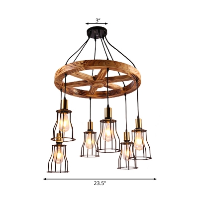 Bell Chandelier Light Fixture Lodge Metal and Wood 6 Light Wagon Wheel Pendant Chandelier in Black and Brass for Bar