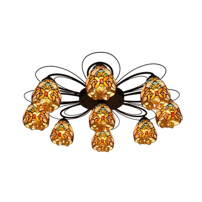 Bowl Handcrafted Art Glass Ceiling Light Tiffany 3/7/9 Heads Yellow/Green Semi Flush Light Fixture