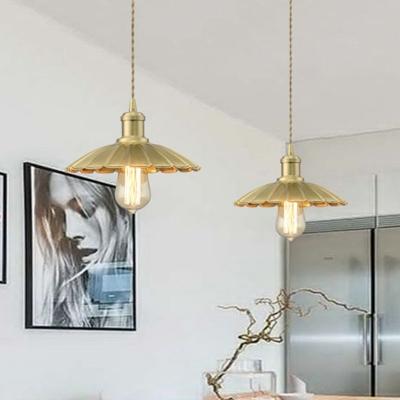 Brass 1 Light Hanging Light Farmhouse Metal Scalloped Pendant Lighting for Living Room, HL575035